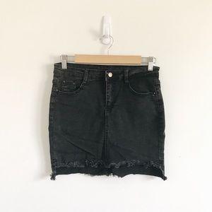 Zaful | Black High Low Denim Skirt Medium